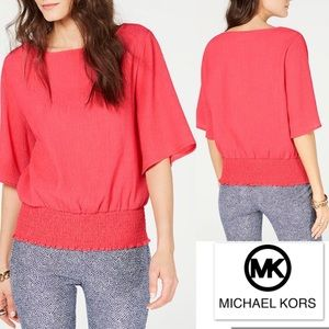 Michael KORS Top in Melon Textured w Smocked Hem